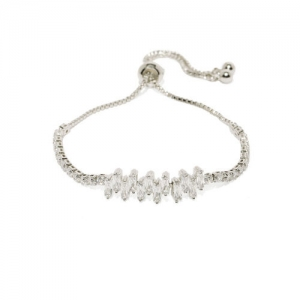 Amavi Silver-Toned Alloy Cubic Zirconia Charm Bracelet