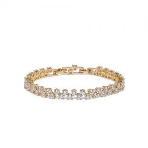 Amavi Gold-Toned Alloy CZ Stone-studded Charm Bracelet
