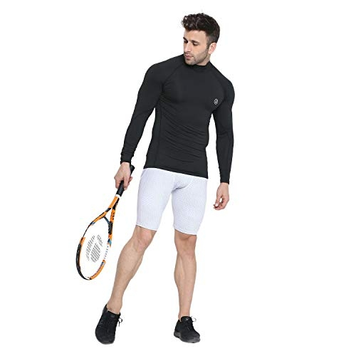 CHKOKKO Compression High Neck Full Sleeve Dry Fit Athletic Fit Gym Sports Stretchable Tshirts