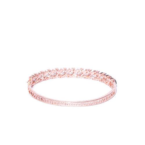 Priyaasi Rose Gold-Plated Handcrafted CZ Stone-Studded Bangle-Style Bracelet