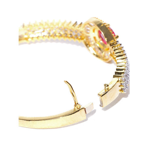 Priyaasi Gold-Plated & Magenta Handcrafted American Diamond Studded Bangle-Style Bracelet