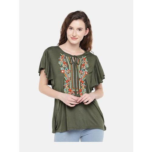 Globus Olive Embroidered Top