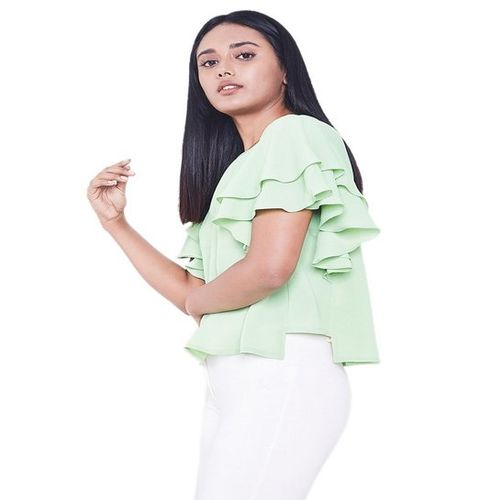 AND Green Textured Top