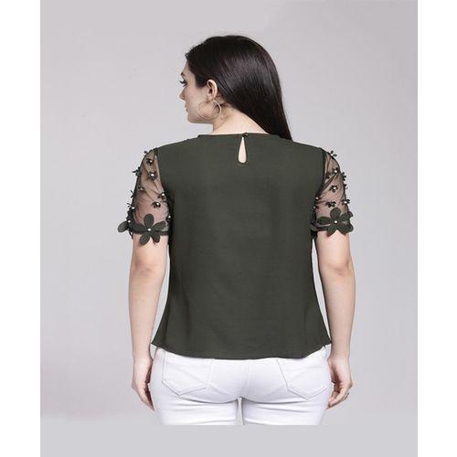 PlusS Olive Embellished Top