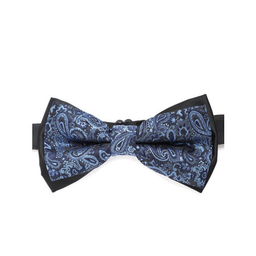 Peter England Men Blue Woven Design Bow Tie