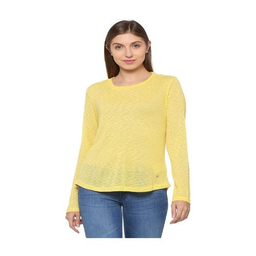 Solly By Allen Solly Yellow Self Print Top
