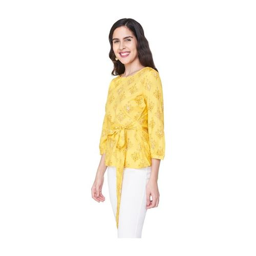 Global Desi Yellow Printed Top