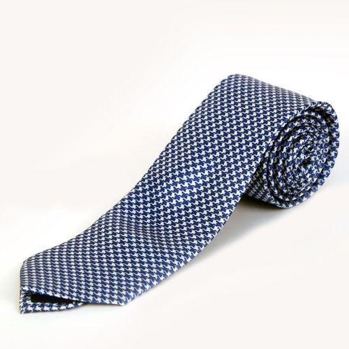 Blacksmith Tiny Blue Houndstooth Design Graphic Print Men Tie
