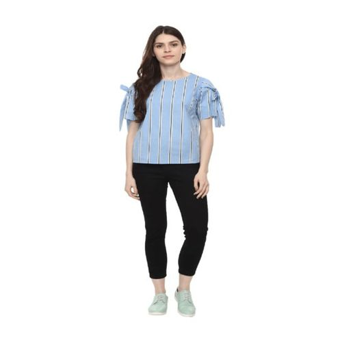 People Blue Striped Top
