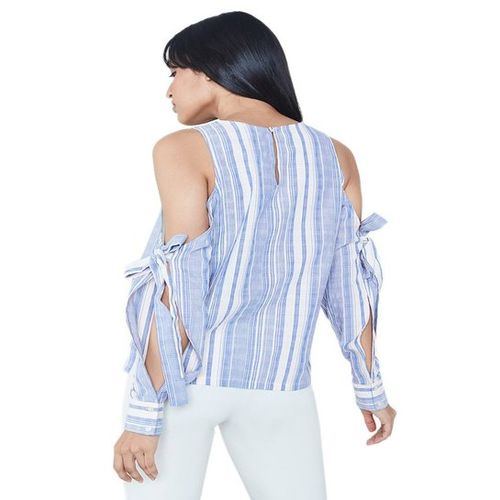 AND Blue & White Striped Slit Top