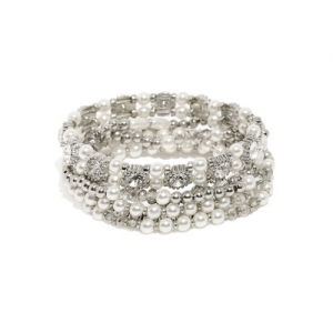 Accessorize Set Of 6 Silver-Toned Embellished Elasticated Bracelet