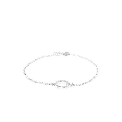 Carlton London Silver-Toned Rhodium-Plated CZ Stone-Studded Charm Bracelet