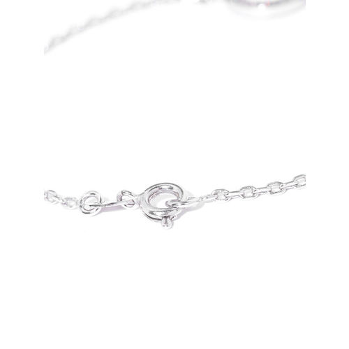 Carlton London Silver-Toned Rhodium-Plated CZ Stone-Studded Charm Bracelet