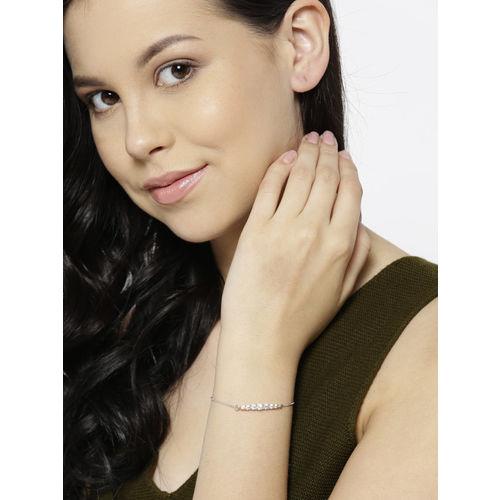 Carlton London Silver-Toned Rose Gold-Plated CZ Stone-Studded Charm Bracelet