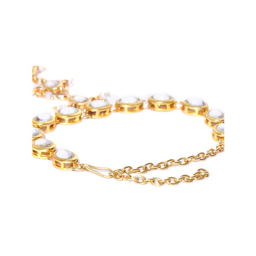 KARATCART Off-White Gold-Plated Kundan-Studded Ring Bracelet