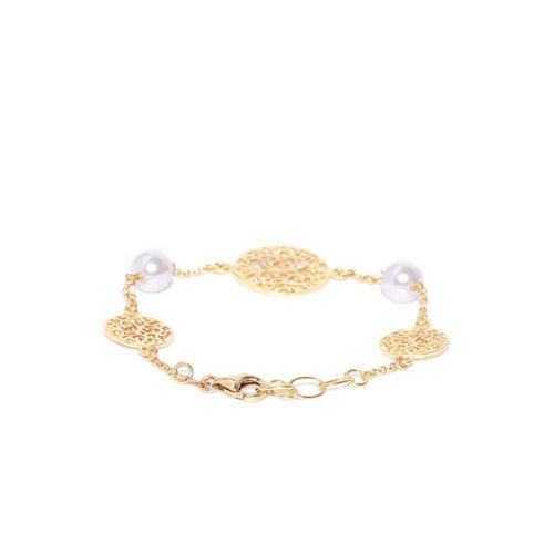 Carlton London Gold-Plated & White Gold-Plated Beaded Charm Bracelet