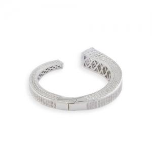 shaze Silver-Toned Brass Silver-Plated Antique Cuff Bracelet