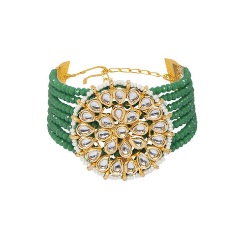 Mali Fionna Green & Gold-Toned Alloy Gold-Plated Handcrafted Armlet Bracelet