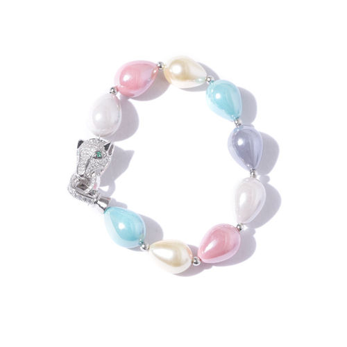 Designs By Jewels Galaxy Multicoloured Rhodium-Plated Handcrafted Link Bracelet