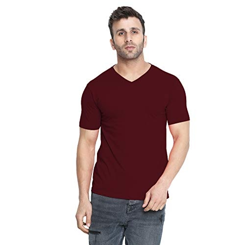 CHKOKKO Maroon Dry Fit V Neck Polyester Half Sleeves Plain Sports and Gym T Shirt