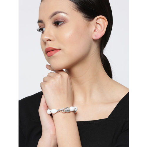 Designs By Jewels Galaxy Off-White Rhodium-Plated Handcrafted Link Bracelet