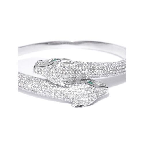 Designs By Jewels Galaxy Rhodium-Plated Stone-Studded Handcrafted Cuff Bracelet