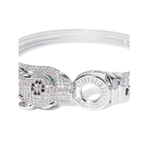 Designs By Jewels Galaxy Silver-Toned Rhodium-Plated Handcrafted Cuff Bracelet