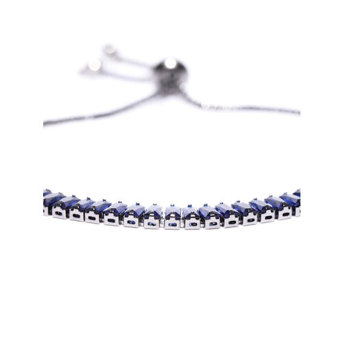 Jewels Galaxy Oxidised Silver-Toned & Navy Blue Rhodium-Plated Handcrafted Bracelet