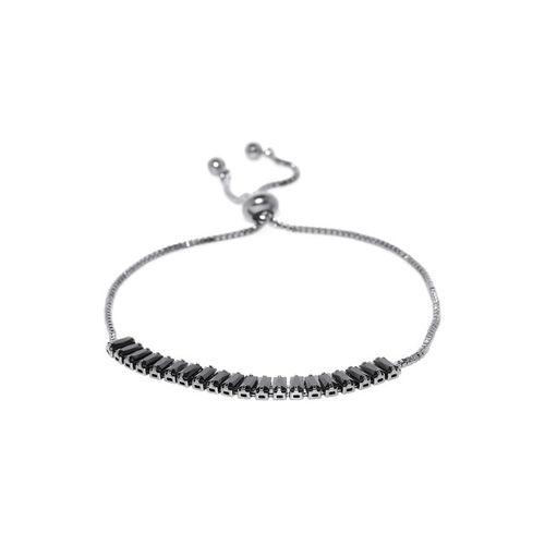 Jewels Galaxy Black & Gunmetal-Toned Rhodium-Plated Stone-Studded Bracelet