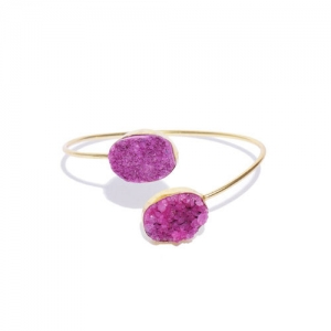 Blueberry Magenta Gold-Plated Stone-Studded Handcrafted Cuff Bracelet