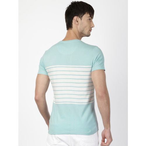 ether Men Blue & White Striped Round Neck T-shirt