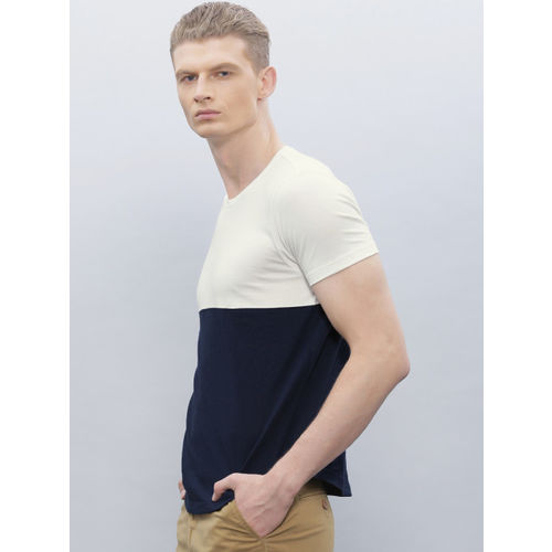 ether Men Navy & White Colourblocked Round Neck T-shirt