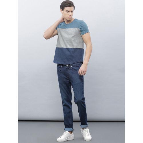 ether Men Grey Melange & Blue Colour Blocked Round Neck T-Shirt