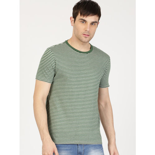ether Men Green & Grey Striped Round Neck T-shirt