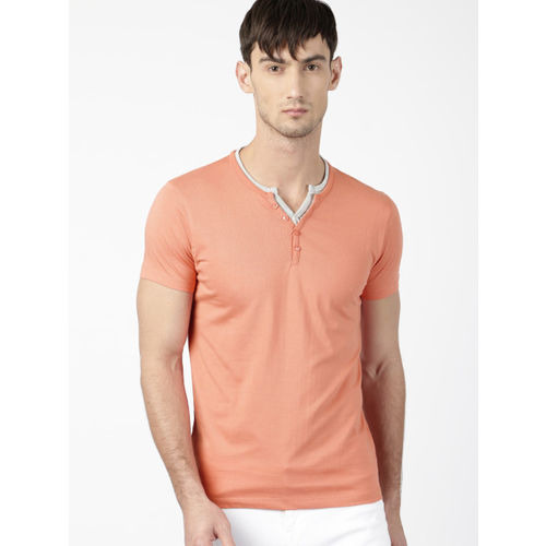 ether Men Peach-Coloured Solid Henley T-shirt