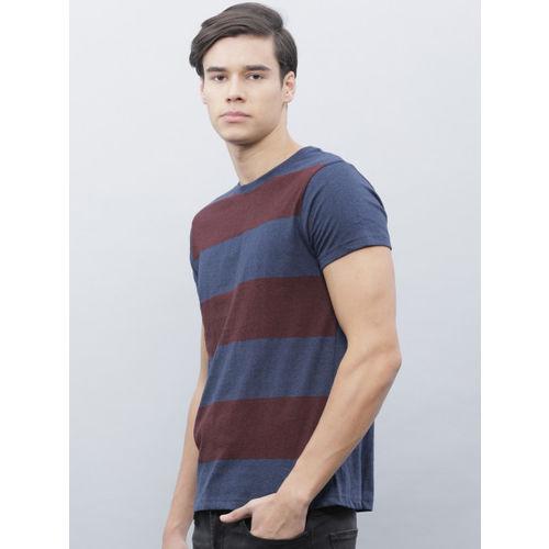 ether Men Navy & Burgundy Striped Round Neck T-shirt