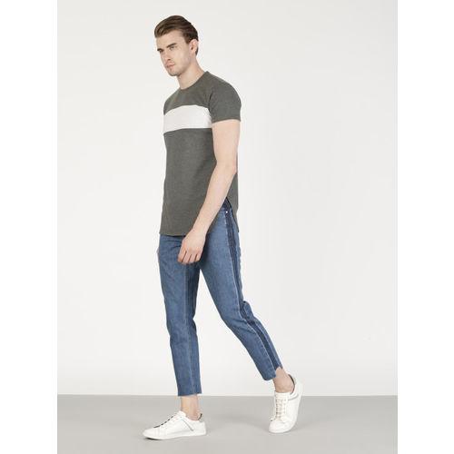 ether Men Charcoal Grey Printed Longline T-shirt