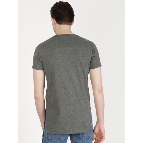 ether Men Charcoal Grey Printed Longline T-shirt