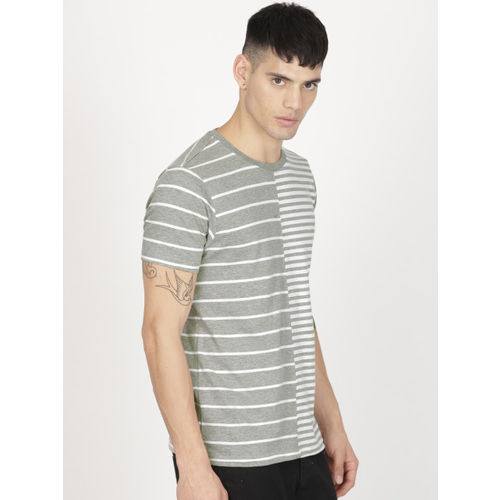 ether Men Grey Melange & White Striped Round Neck T-shirt