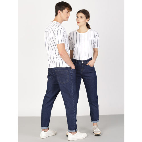 ether Unisex White Striped Round Neck T-shirt
