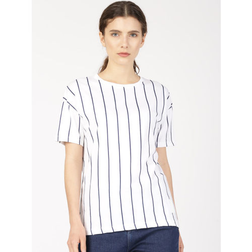 ether Unisex White Striped Round Neck T-shirt