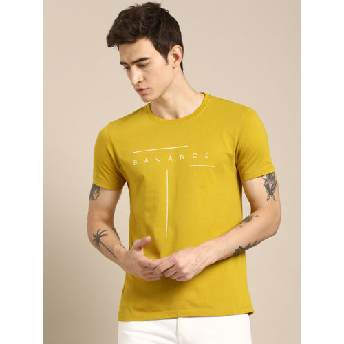 ether Men Mustard Yellow Printed Round Neck T-shirt