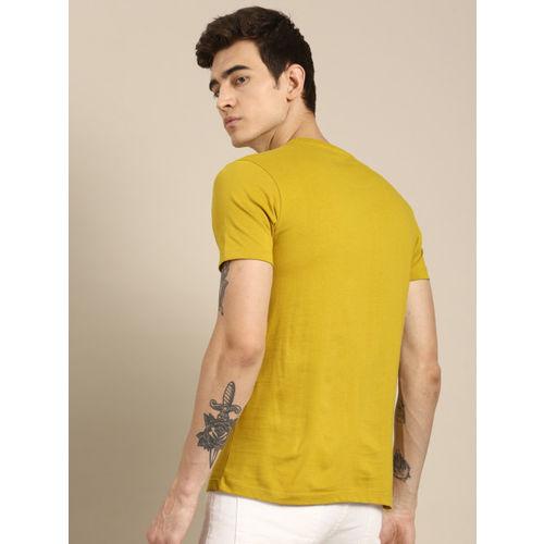 ether Men Mustard Yellow Printed Round Neck T-shirt