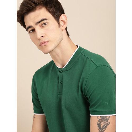 ether Men Green Solid Non-Fading Hi-IQ Henley Neck T-shirt