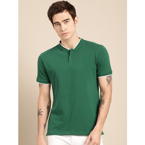 ether Men Green Solid Non-Fading Hi-IQ Henley Neck T-shirt