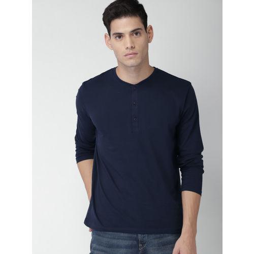 HIGHLANDER Men Navy Blue Solid Henley T-Shirt