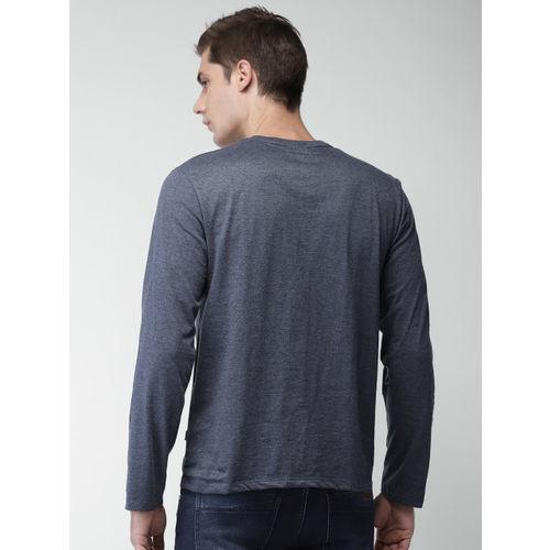 HIGHLANDER Men Blue Slim Fit Henley T-shirt