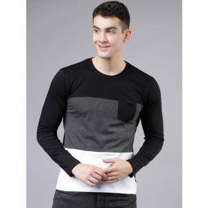 HIGHLANDER Men Black Colourblocked Round Neck T-shirt