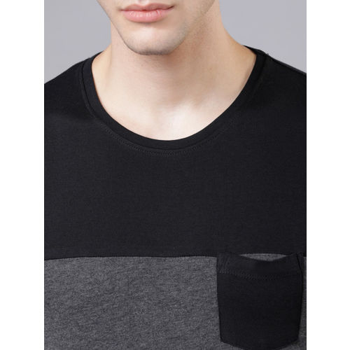 HIGHLANDER Men Black Colourblocked Round Neck T-shirt
