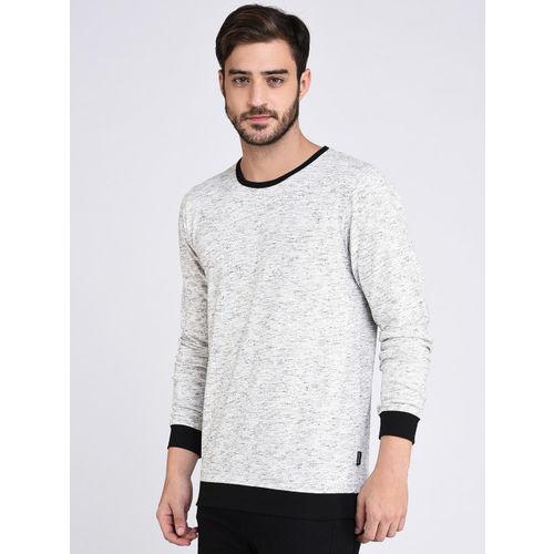 Rigo Men Grey Melange Solid Round Neck T-shirt